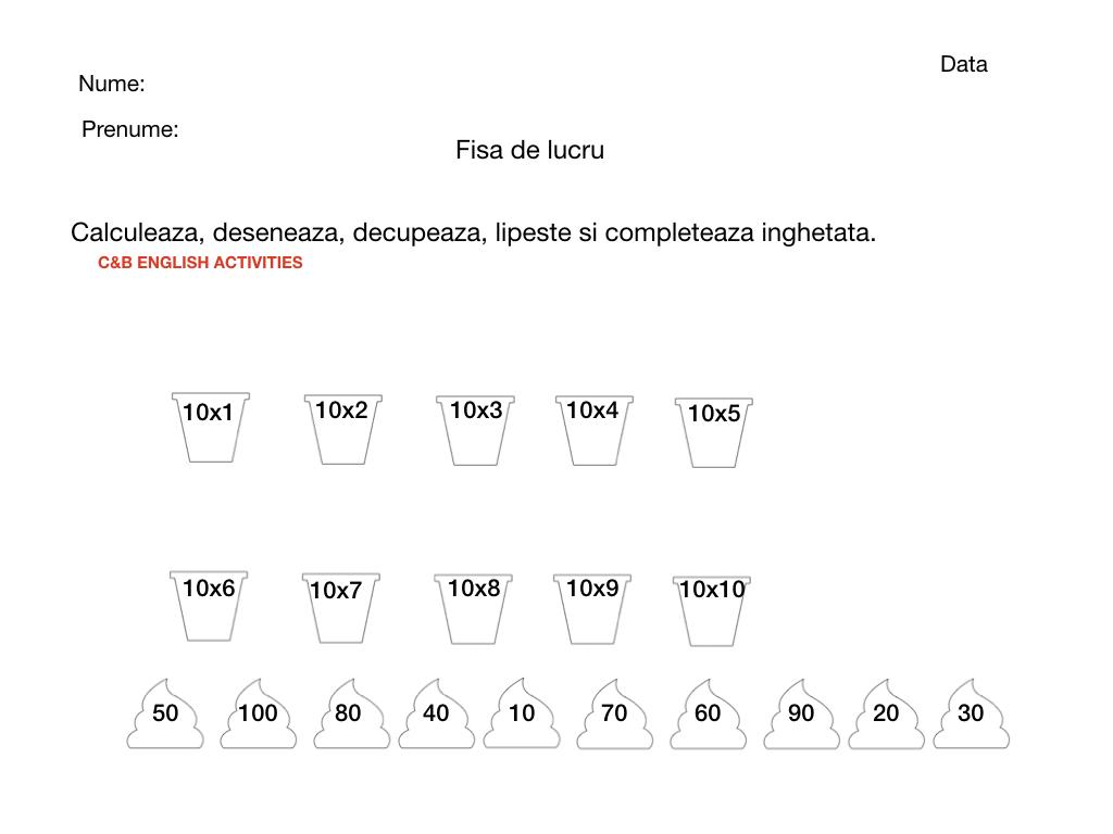 Matematica Tabla Inmultirii 1 10 Calculeaza Decupeaza
